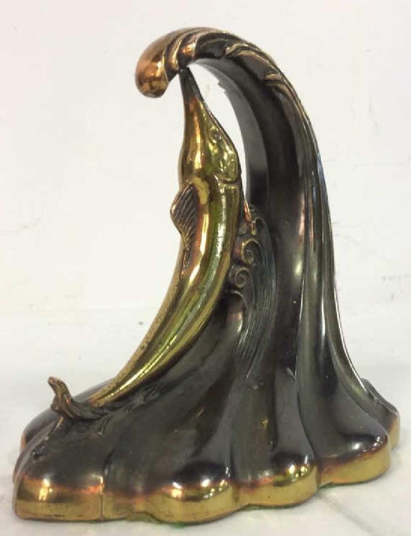 Pair Gold Toned Brass Marlin Bookends Art Deco - 5