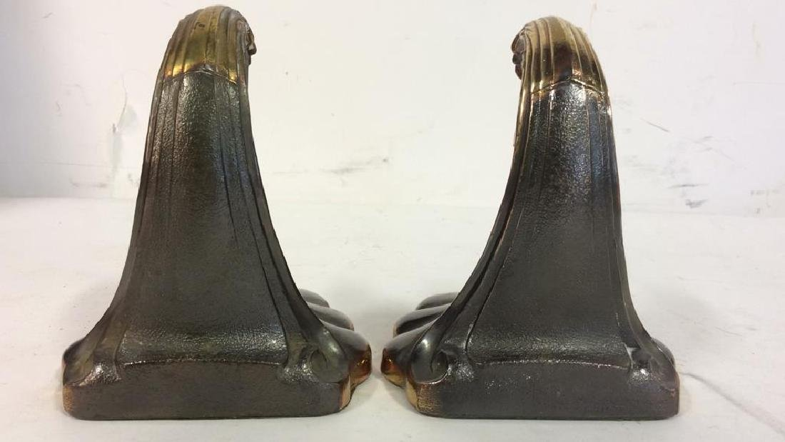 Pair Gold Toned Brass Marlin Bookends Art Deco - 6