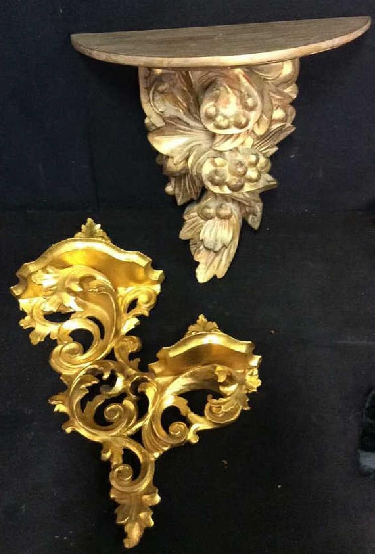 Lot 2  Plaster And Wood Wall Sconces