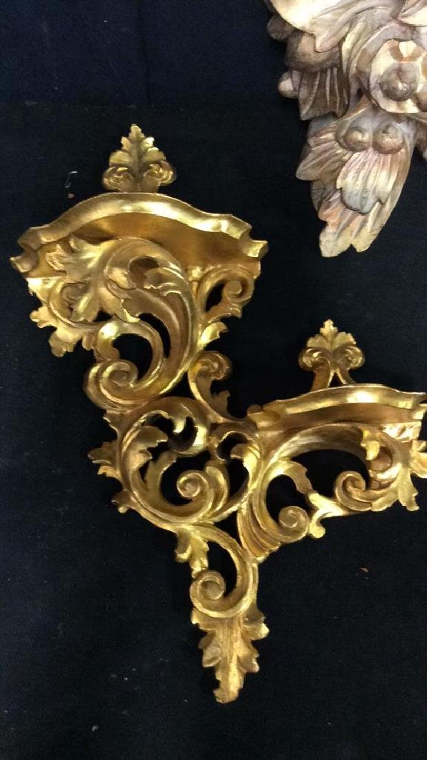 Lot 2  Plaster And Wood Wall Sconces - 2
