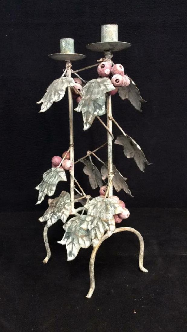 Painted Metal Double Candleholder