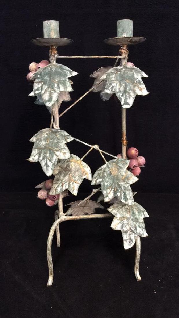 Painted Metal Double Candleholder - 5