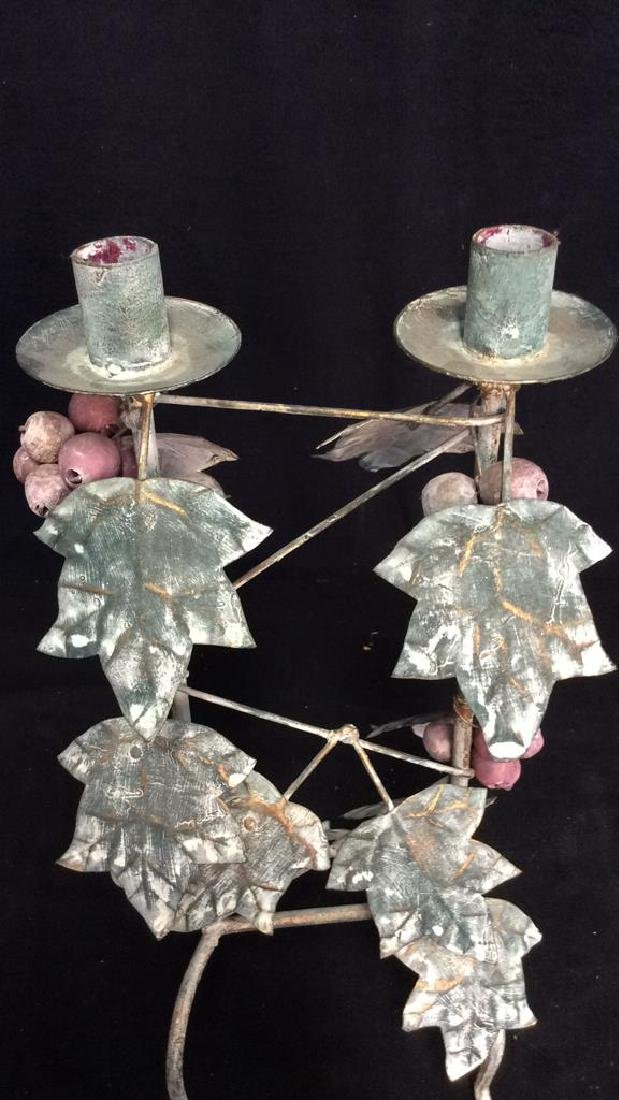 Painted Metal Double Candleholder - 6