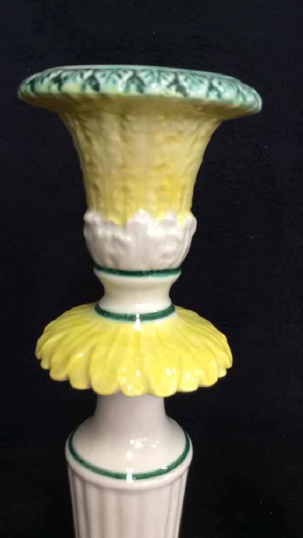 Pair Italian Porcelain Ceramic Candlesticks - 4