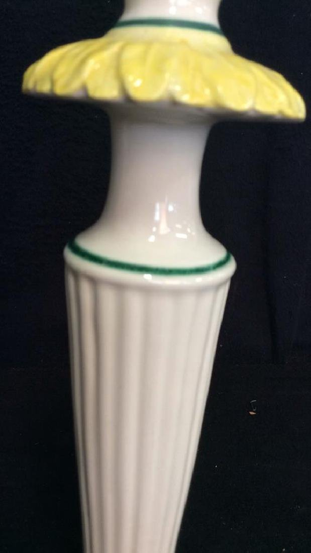 Pair Italian Porcelain Ceramic Candlesticks - 6