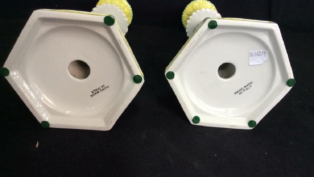 Pair Italian Porcelain Ceramic Candlesticks - 7