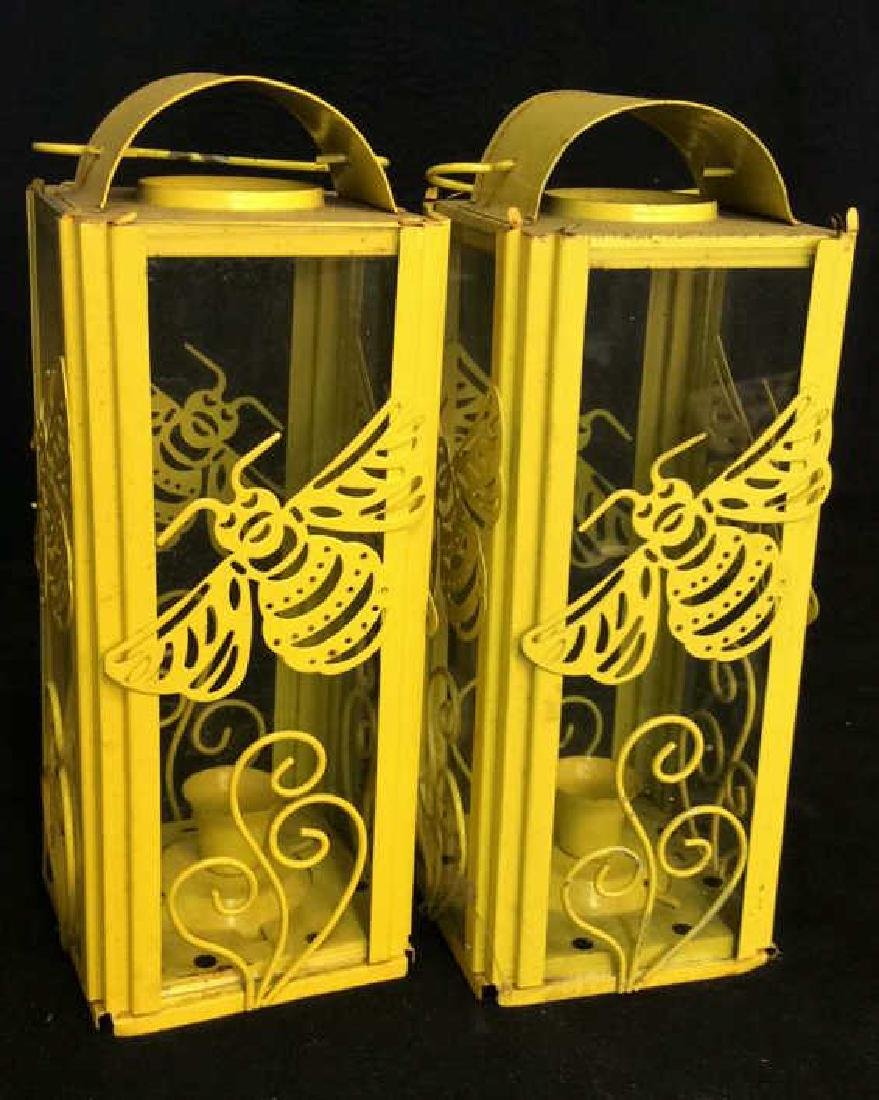 Pair Yelliw Tole and Glass Candle Lanterns
