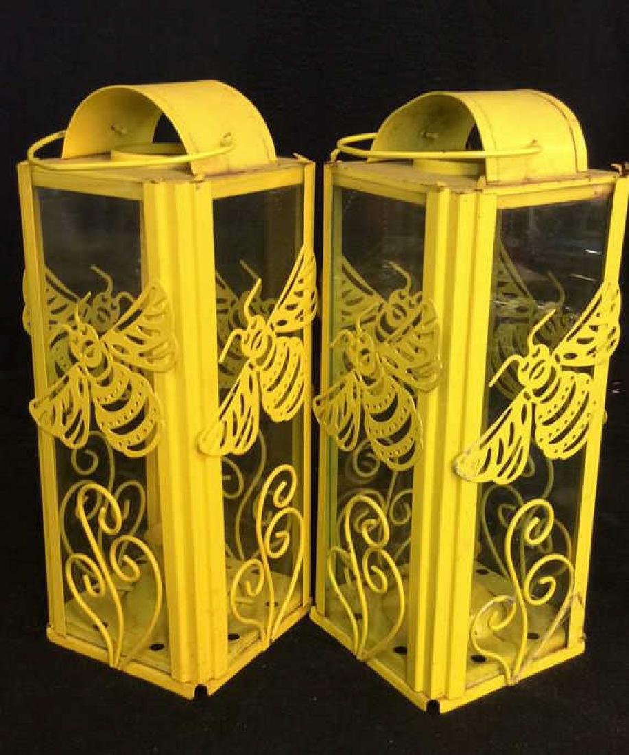 Pair Yelliw Tole and Glass Candle Lanterns - 4