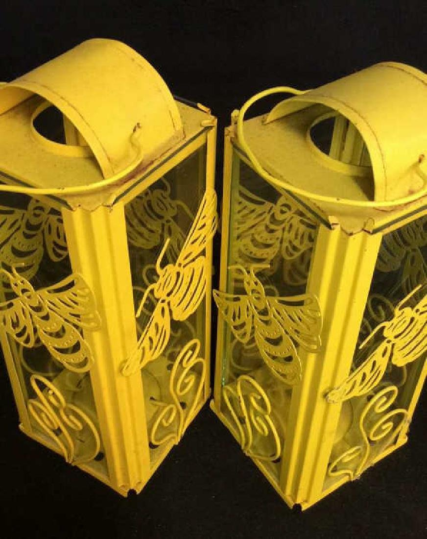 Pair Yelliw Tole and Glass Candle Lanterns - 5
