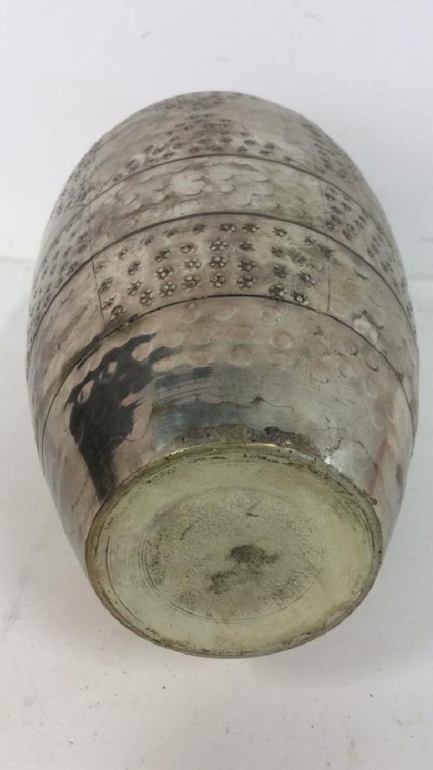 Silver Toned Metal Flower Vase - 4