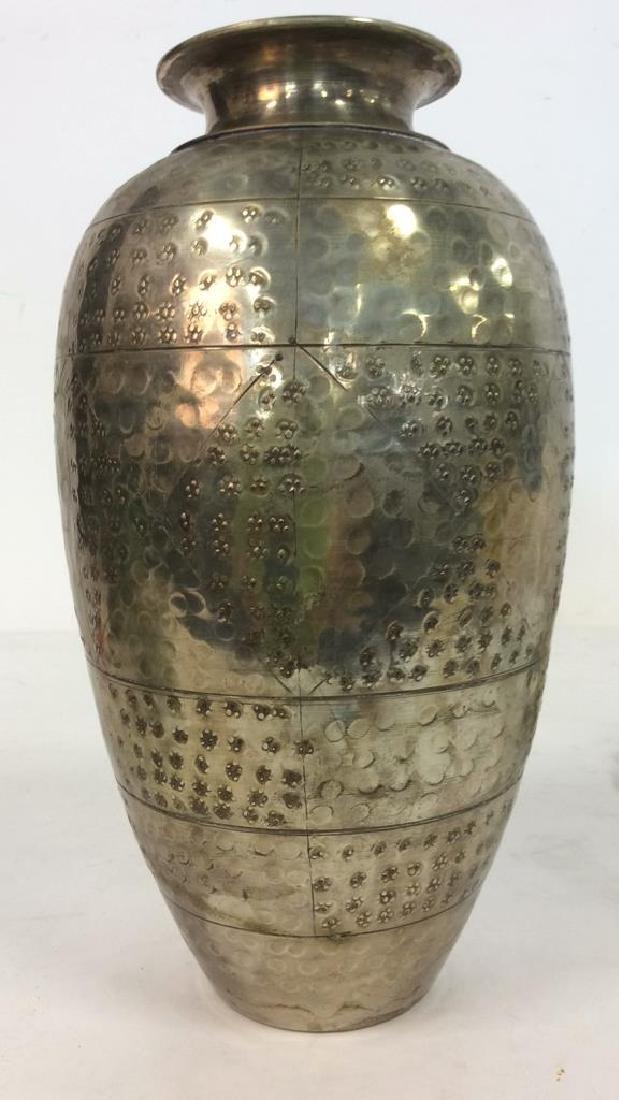 Silver Toned Metal Flower Vase - 5