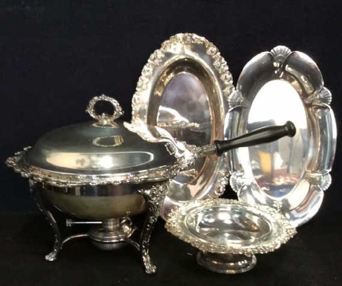 Group Lot Decoratively Edged Silver Plate