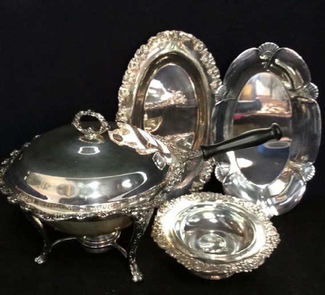 Group Lot Decoratively Edged Silver Plate - 2