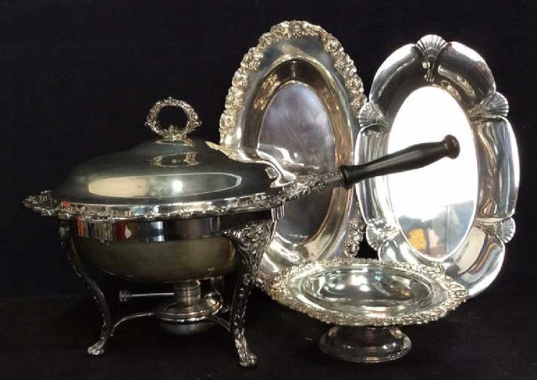 Group Lot Decoratively Edged Silver Plate - 3