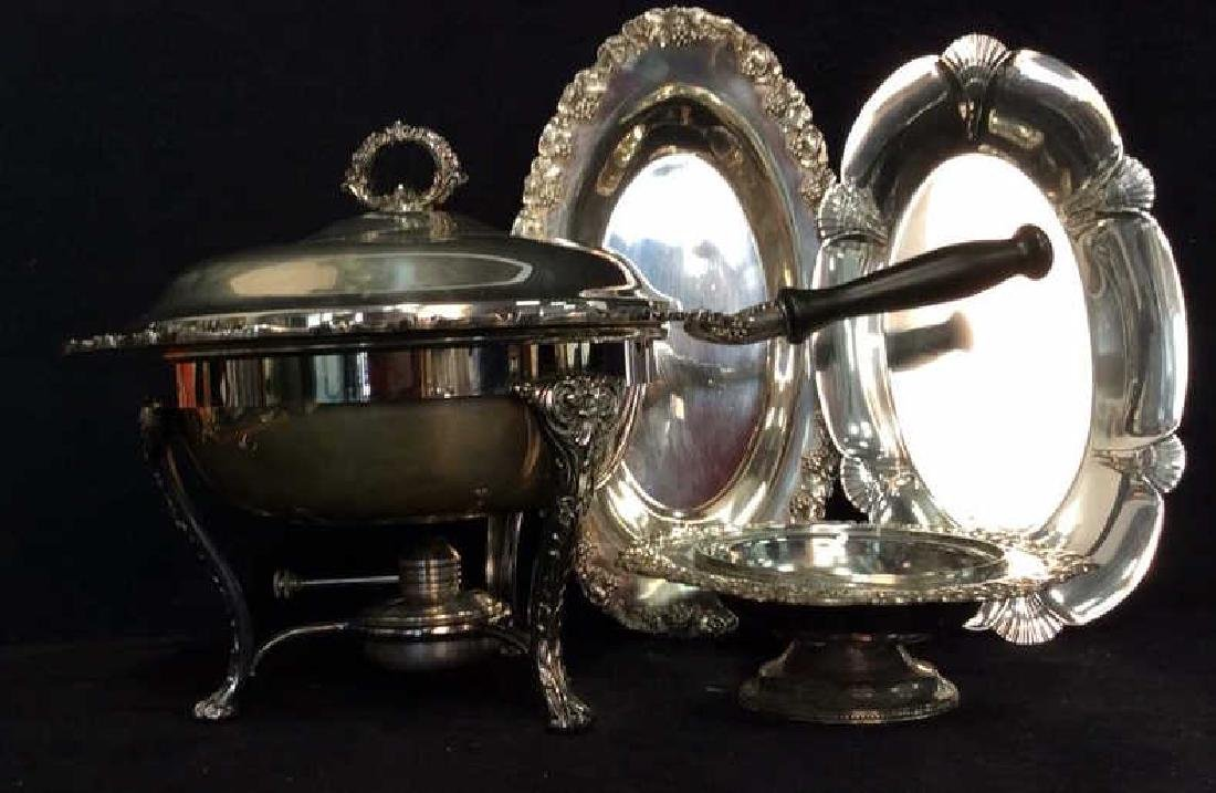 Group Lot Decoratively Edged Silver Plate - 4