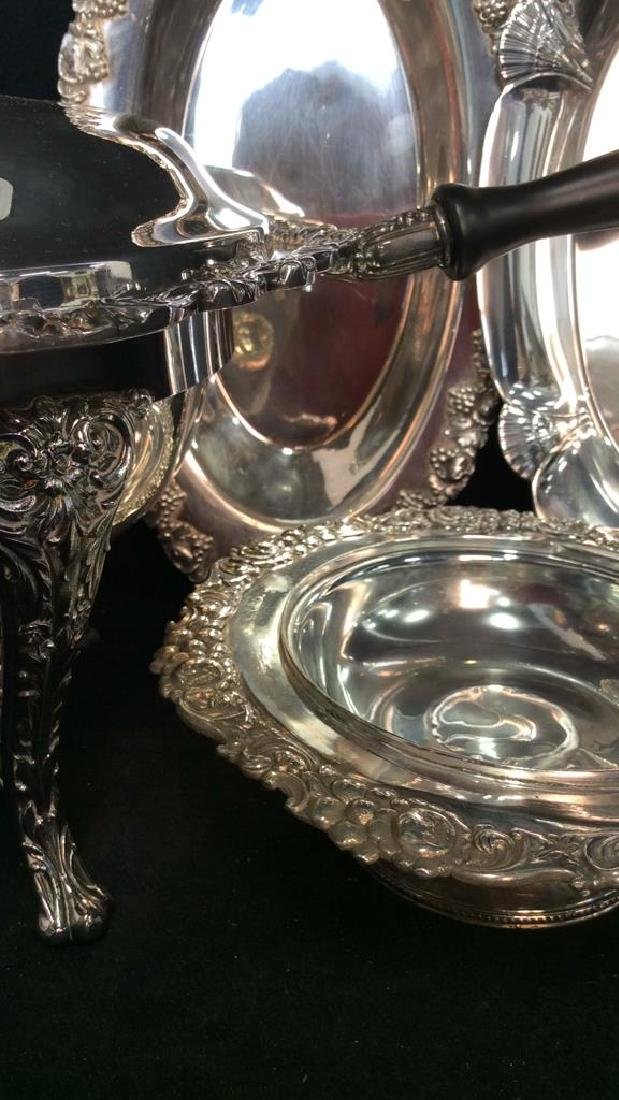 Group Lot Decoratively Edged Silver Plate - 7