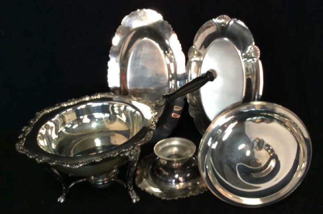Group Lot Decoratively Edged Silver Plate - 8