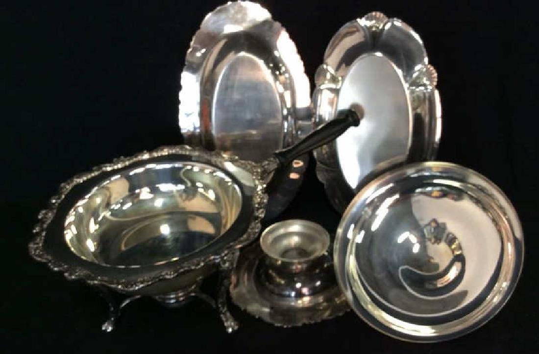 Group Lot Decoratively Edged Silver Plate - 9