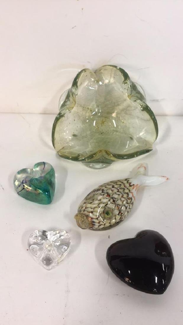 Lot 5 Mixed Hand Blown Glass Tabletop Accessories