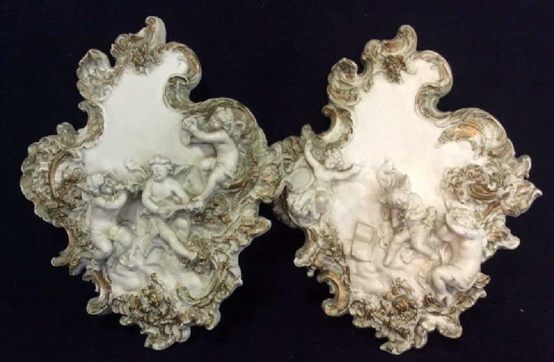 Pair Wall Hanging Plaster Cupid Figurals