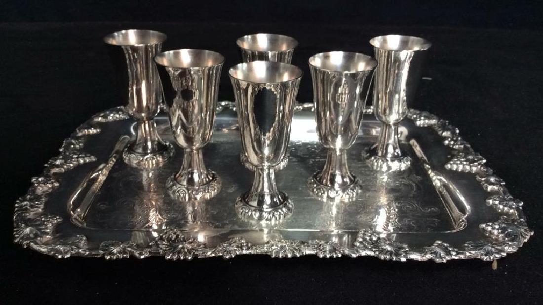 Wallace Baroque Silver Plate Cordial Set