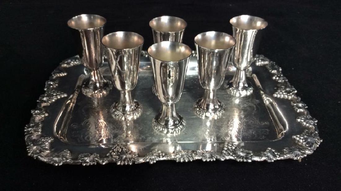 Wallace Baroque Silver Plate Cordial Set - 2