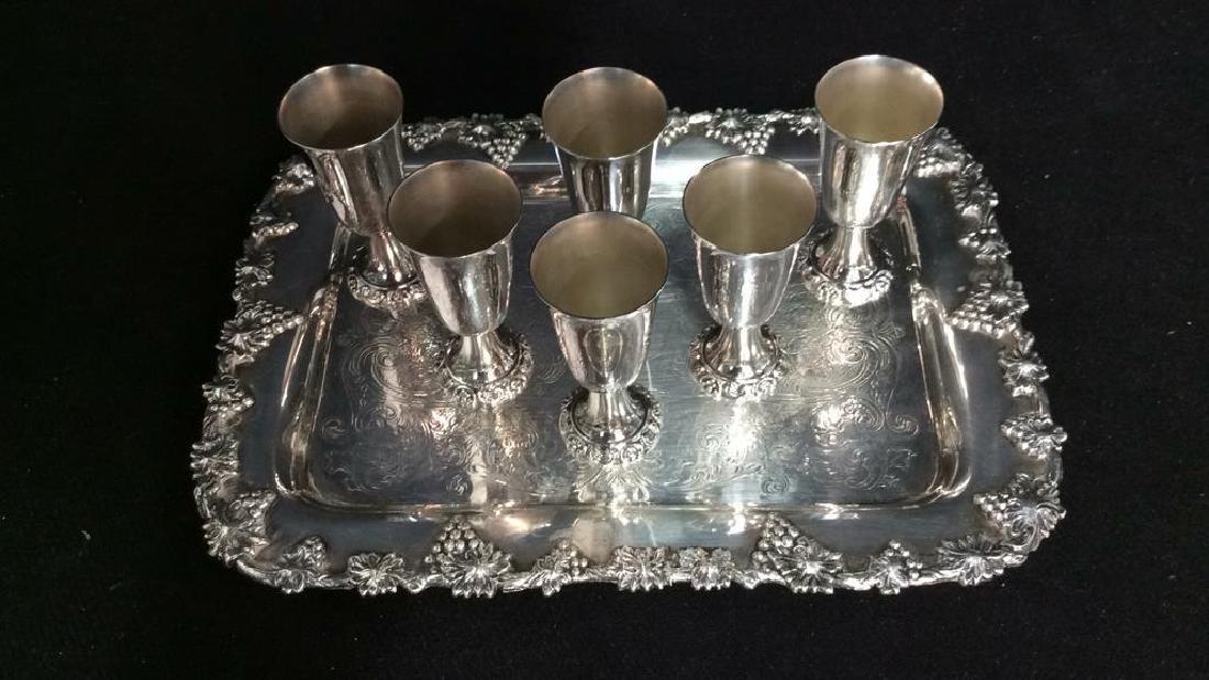 Wallace Baroque Silver Plate Cordial Set - 4