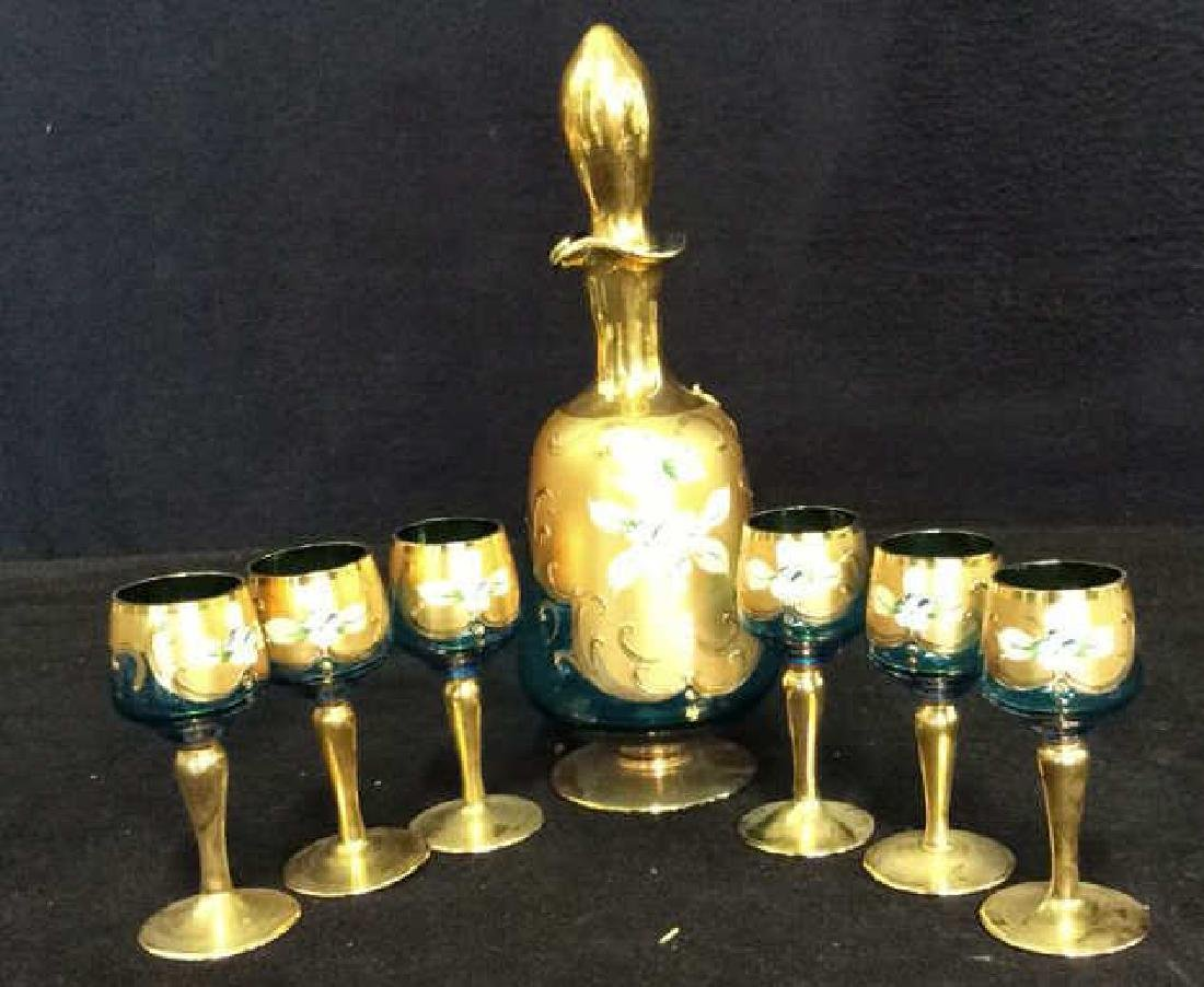 Vintage Bohemia Glass and Gold Cordial Set