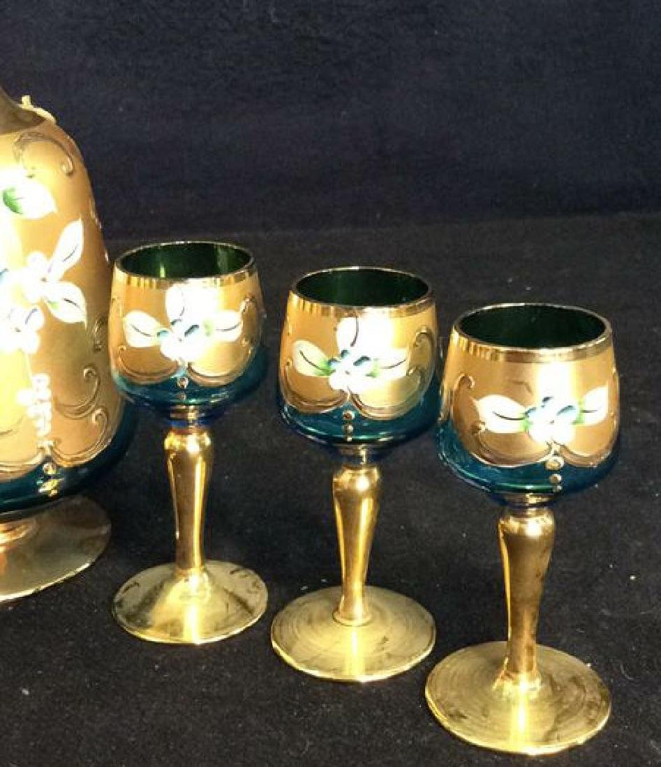 Vintage Bohemia Glass and Gold Cordial Set - 3