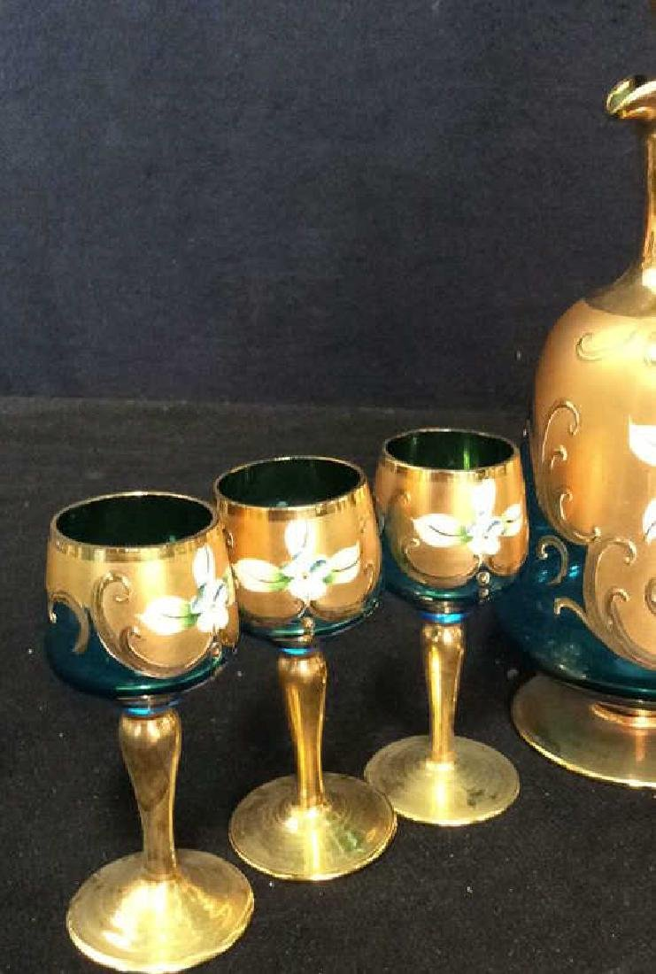 Vintage Bohemia Glass and Gold Cordial Set - 4