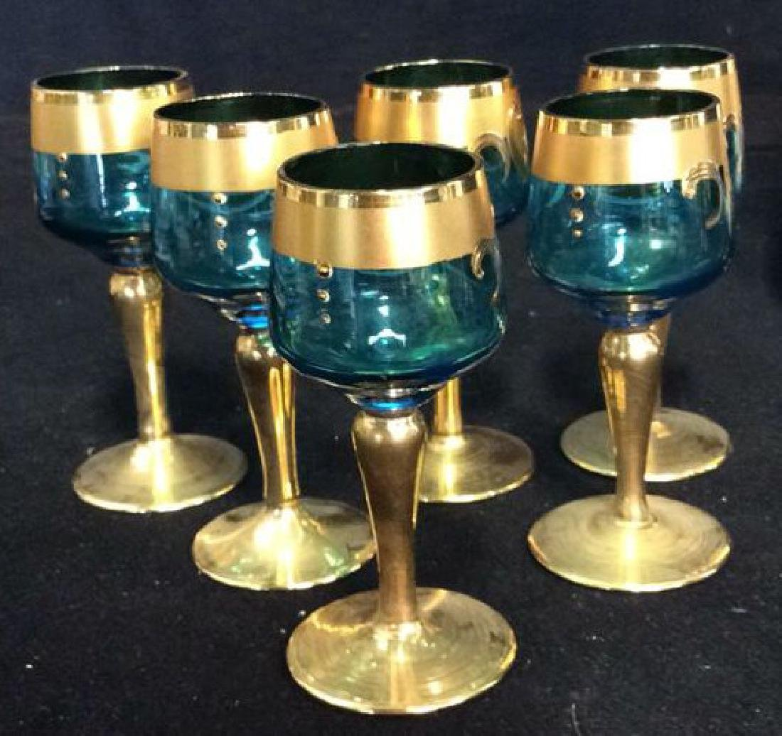 Vintage Bohemia Glass and Gold Cordial Set - 5