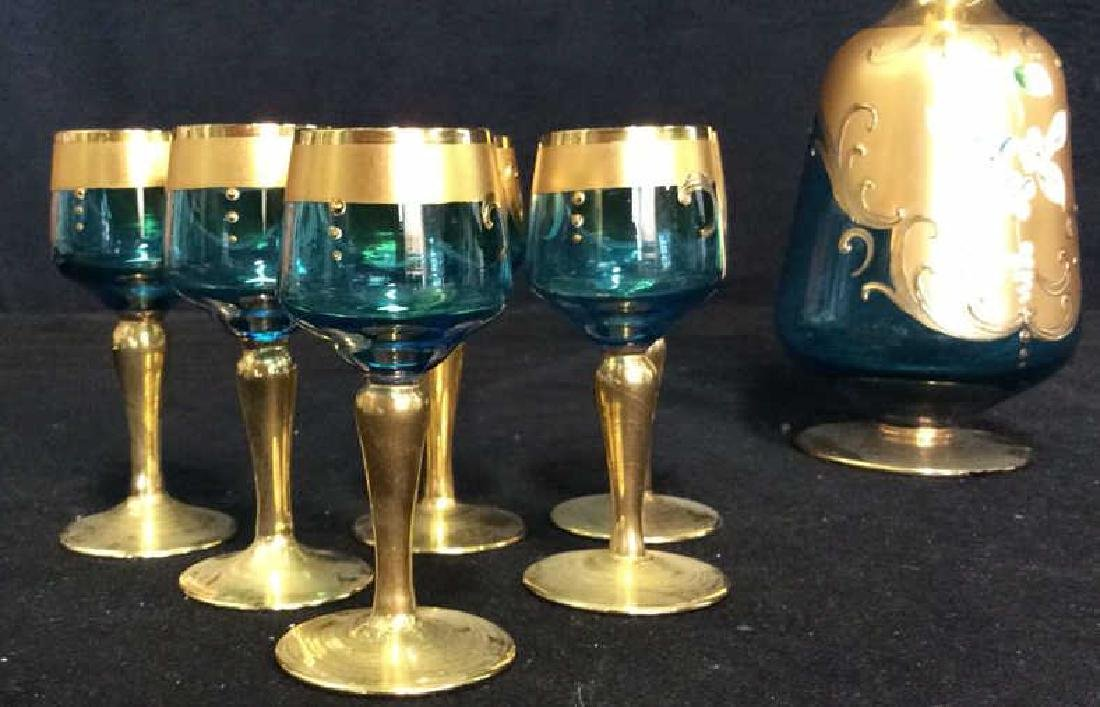 Vintage Bohemia Glass and Gold Cordial Set - 6