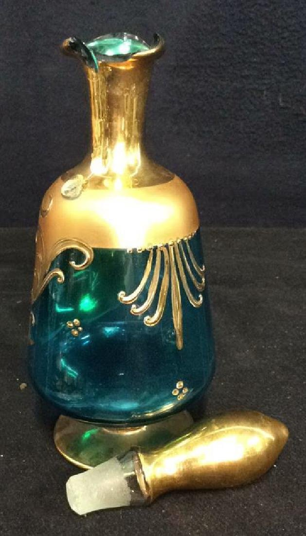 Vintage Bohemia Glass and Gold Cordial Set - 8