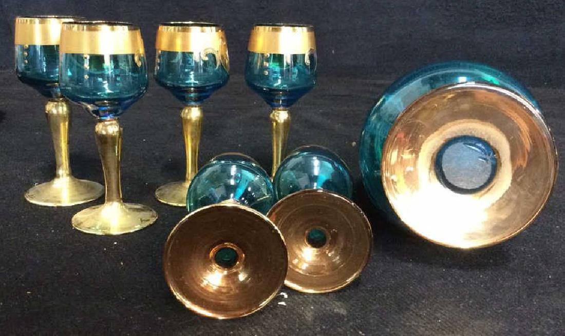 Vintage Bohemia Glass and Gold Cordial Set - 9
