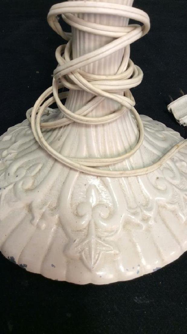White Painted Tole Metal Lamp - 3