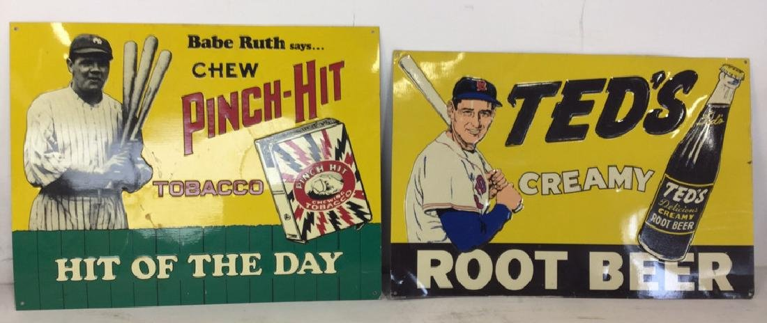 Vintage Metal Baseball Advertising Signs