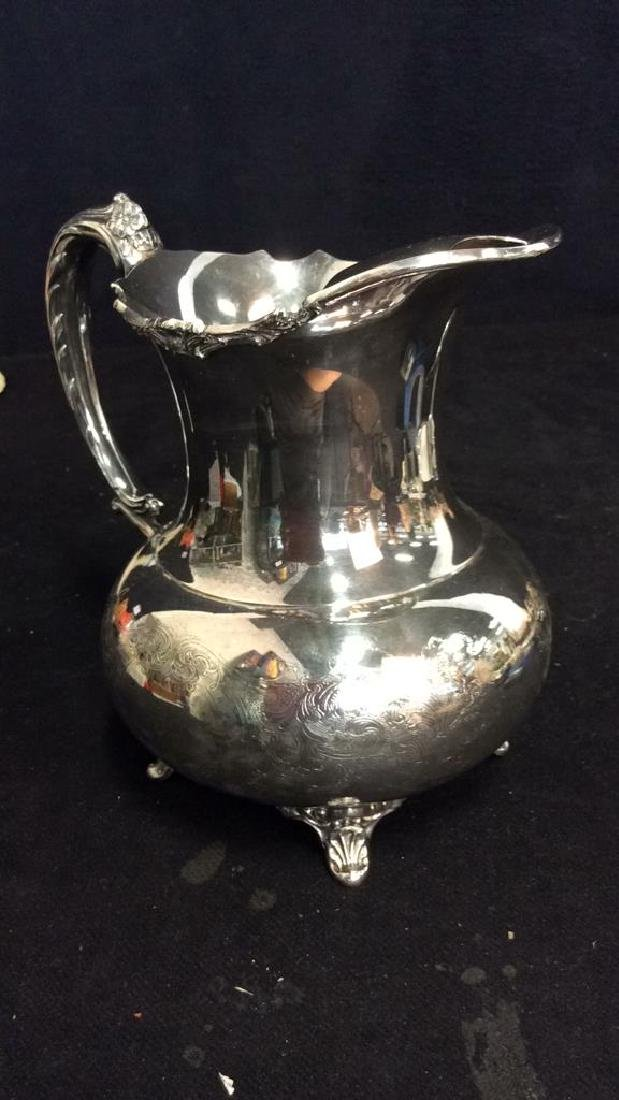 Silver Plate Sheffield Footed Water Pitcher - 4