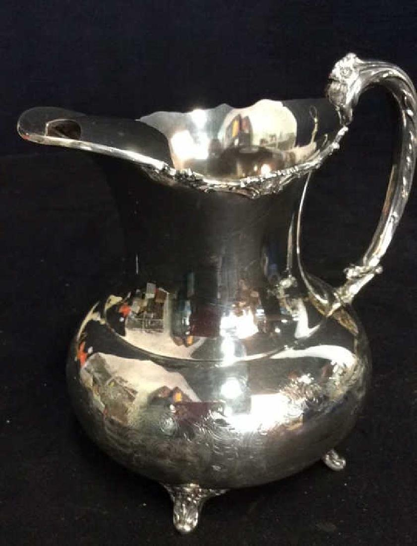 Silver Plate Sheffield Footed Water Pitcher - 5