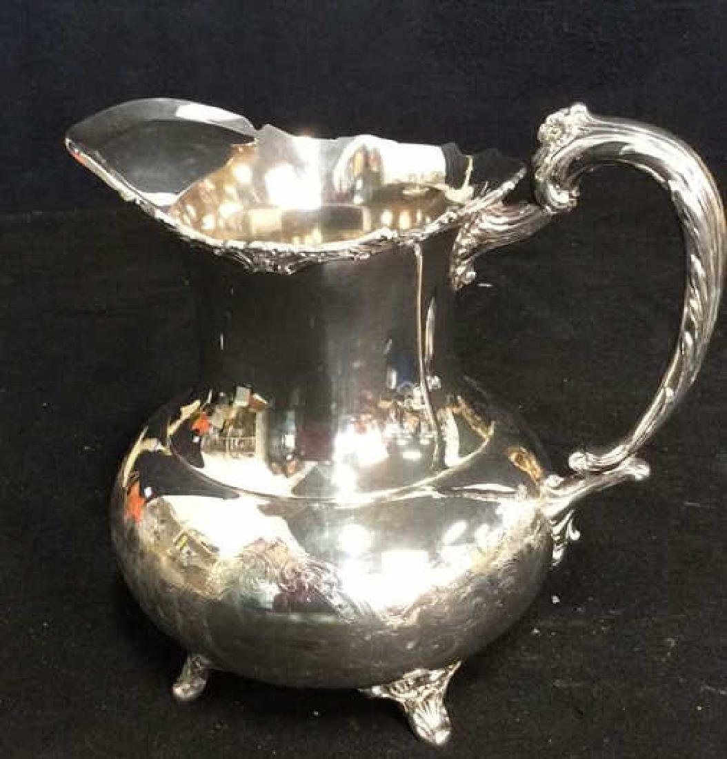 Silver Plate Sheffield Footed Water Pitcher - 6
