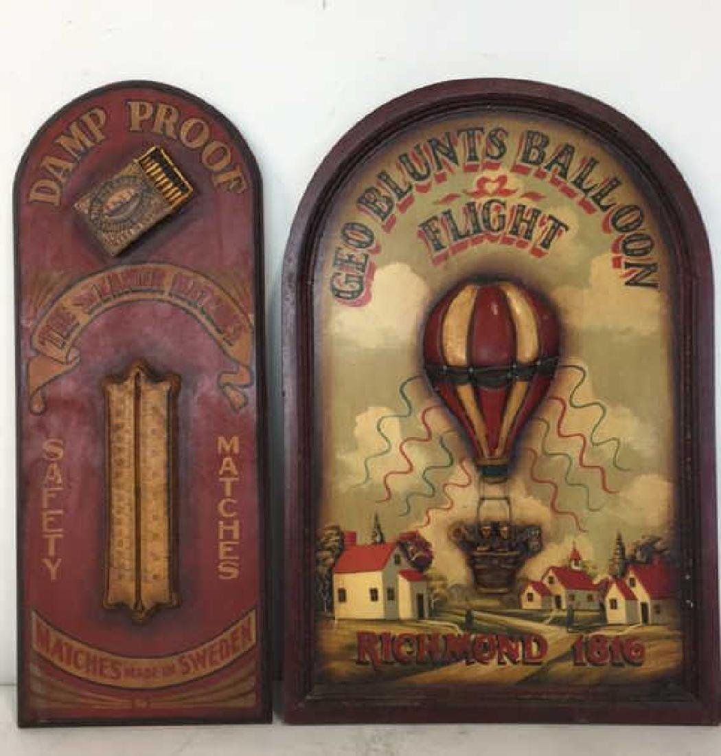 Lot 2 Vintage Painted Wooden Wall Hanging Signs