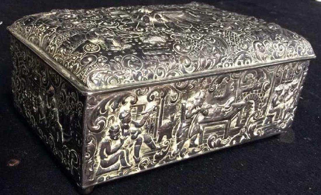 Intricately Repousse Silver Plate Trinket Box