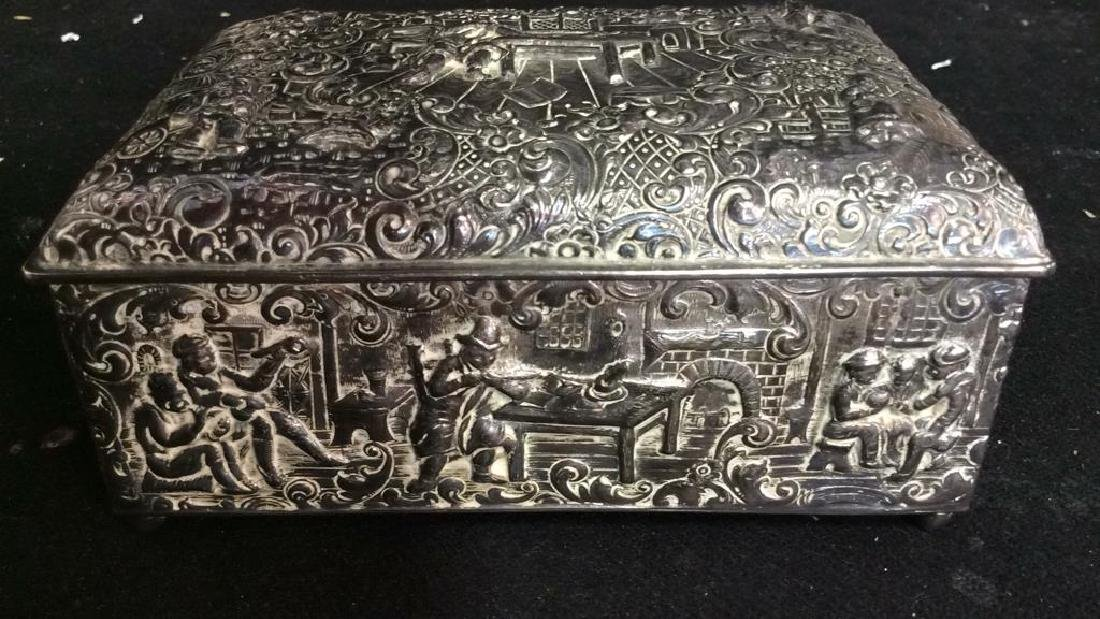 Intricately Repousse Silver Plate Trinket Box - 2