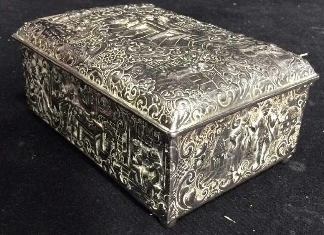 Intricately Repousse Silver Plate Trinket Box - 3