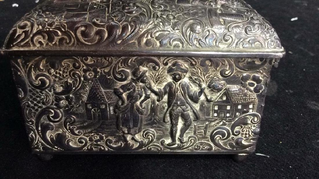 Intricately Repousse Silver Plate Trinket Box - 4
