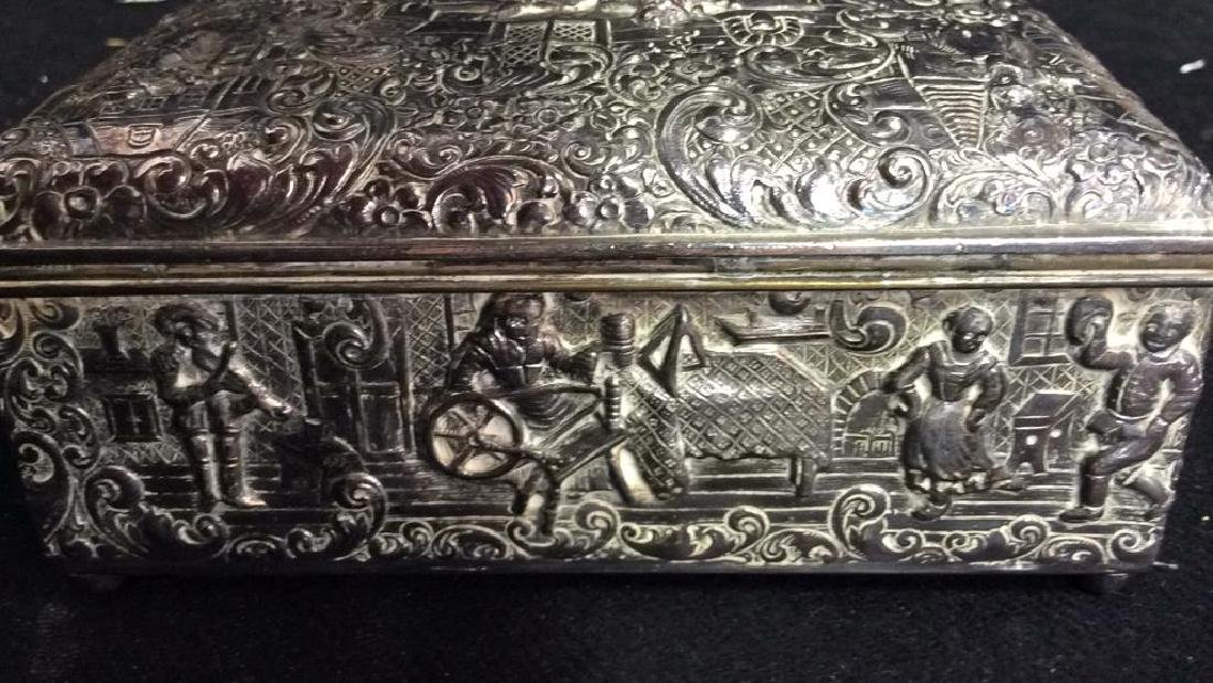 Intricately Repousse Silver Plate Trinket Box - 5