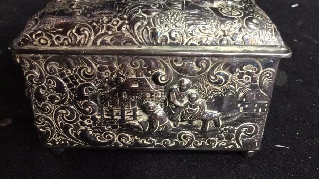 Intricately Repousse Silver Plate Trinket Box - 6