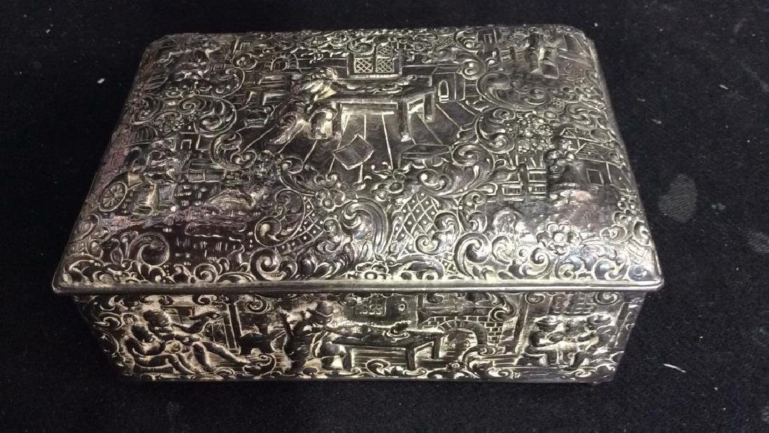 Intricately Repousse Silver Plate Trinket Box - 7