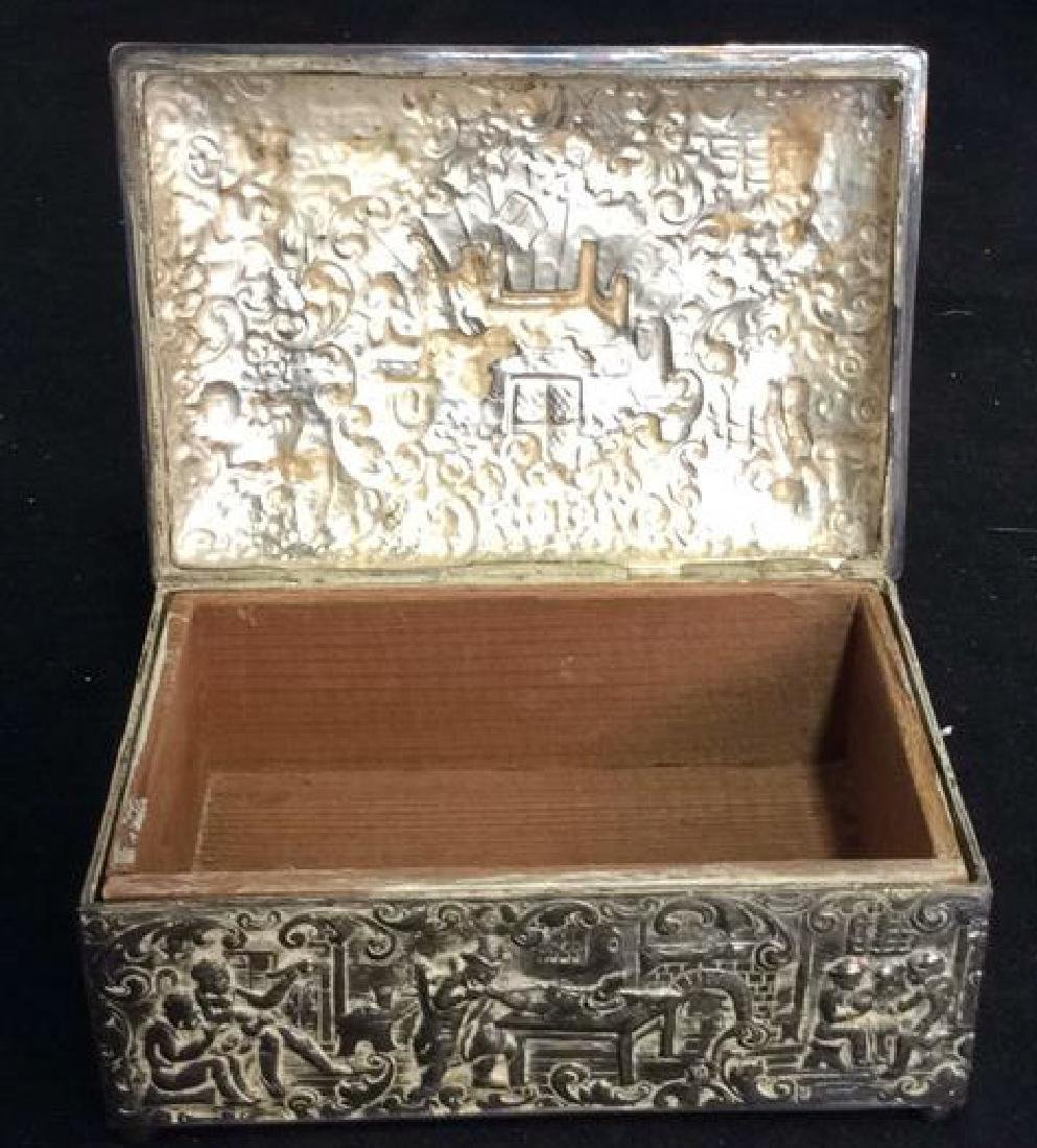 Intricately Repousse Silver Plate Trinket Box - 8