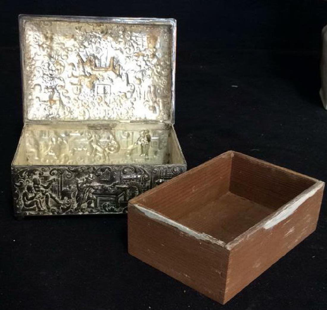 Intricately Repousse Silver Plate Trinket Box - 9