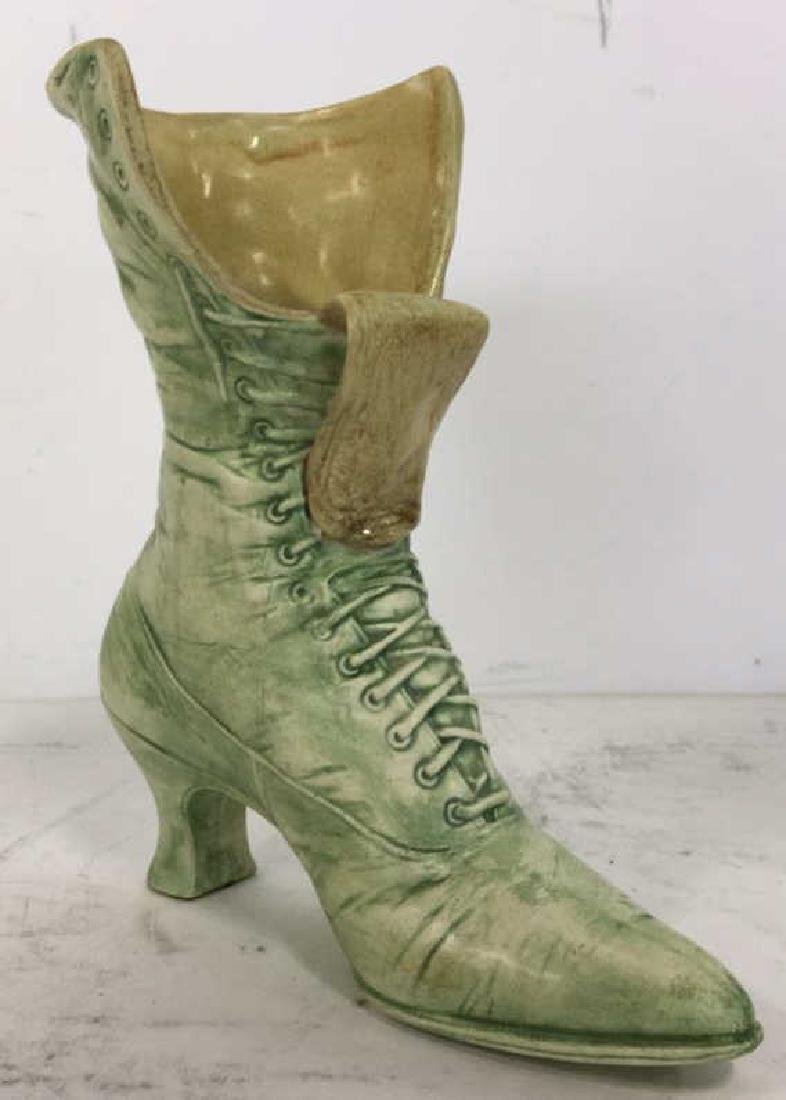 Green Toned Ceramic Boot Shaped Vase - 2
